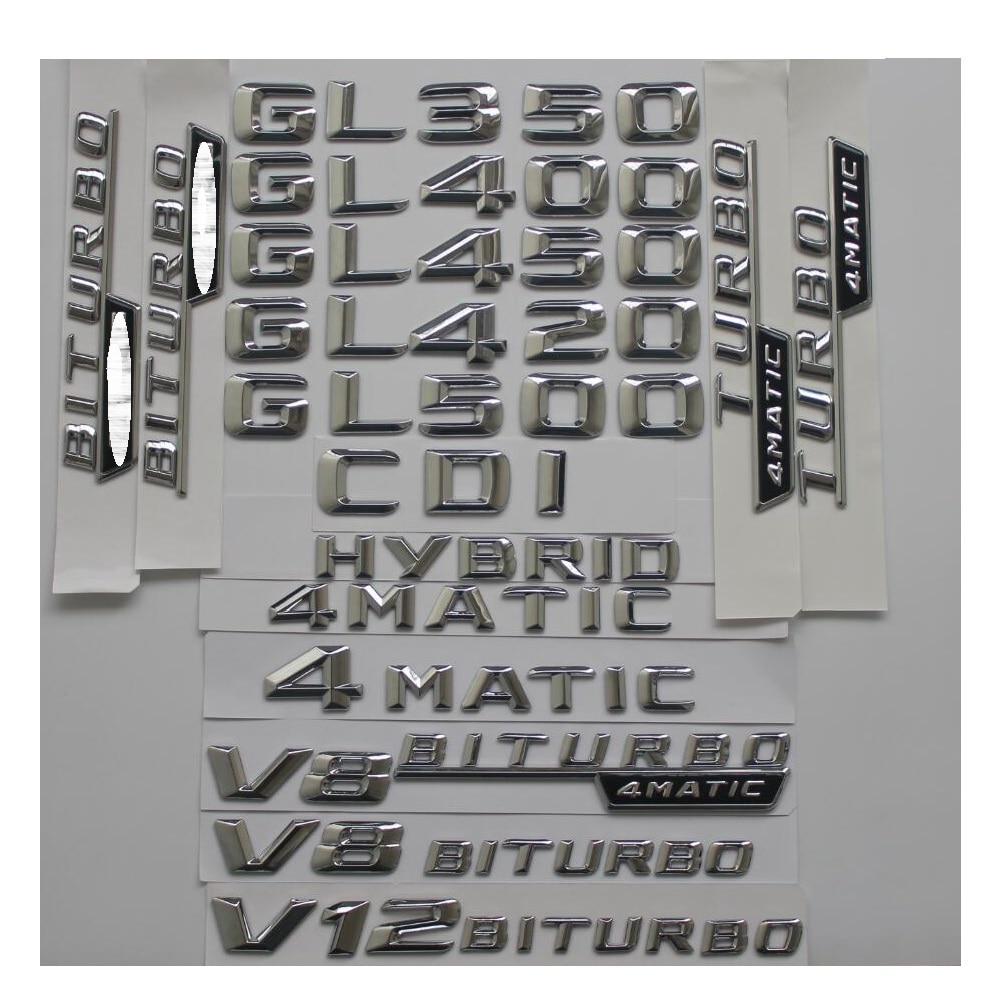 3D Chrome Stamm Buchstaben Abzeichen Emblem Embleme Aufkleber für Mercedes Benz GL350 GL400 GL450 GL500 GL550 GL420 V8 BITURBO 4 MATIC AMG