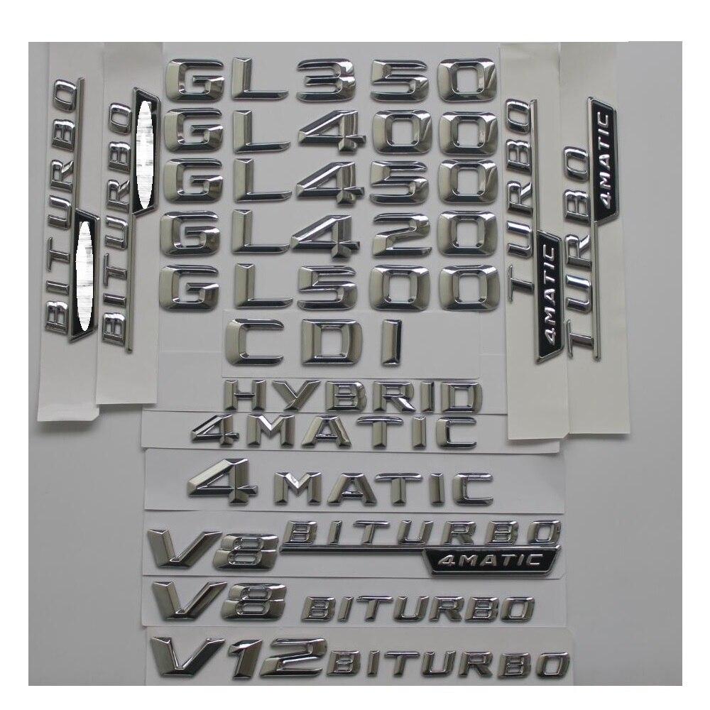 3D Chrome Tronc Lettres Badge Emblème Emblèmes Autocollant pour Mercedes Benz GL350 GL400 GL450 GL500 GL550 GL420 V8 BITURBO 4 MATIC AMG