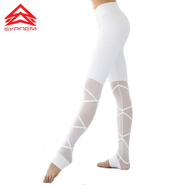 645c5a54ad769 Syprem Fitness Athletic Leggings Black Strappy Mesh Patchwork Yoga Pants  Sport Legging Nylon Dance Tights Workout Apparel,WY0356