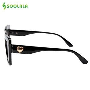 Image 2 - SOOLALA uroczy kot oko kwadratowe okulary do czytania z sercem ramiona kobiety nadwzroczność okulary do czytania + 1.0 1.25 1.5 1.75 do 4.0