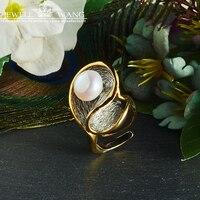 JEWELLWANG барокко Ювелирные изделия из жемчуга естественный пресноводный жемчуг кольца 925 пробы Серебряные кольца для Для женщин уникальный по