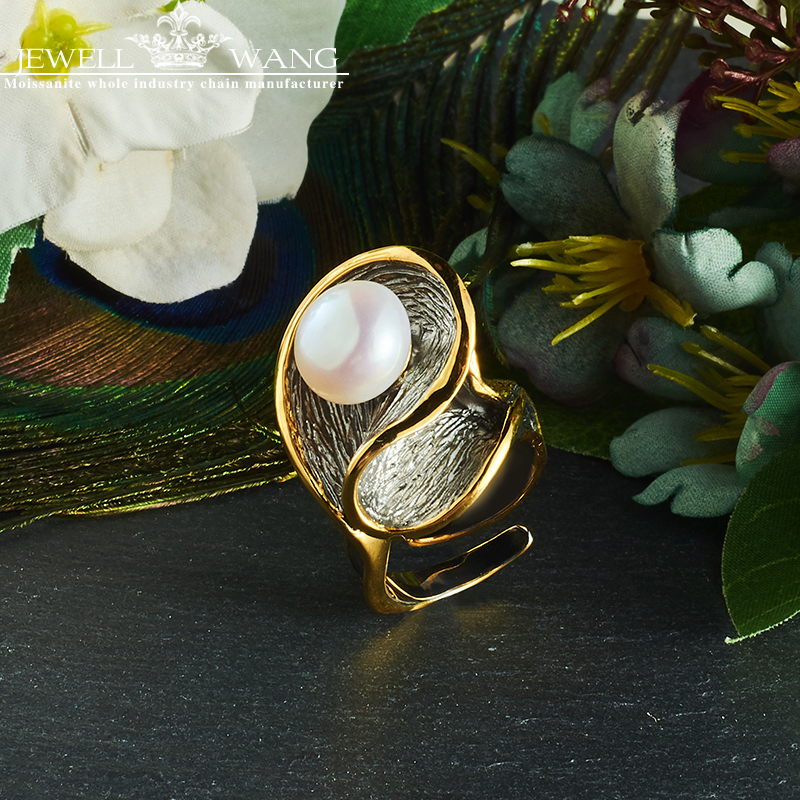 JEWELLWANG Baroque Pearl Jewelry Natural Freshwater Pearl Rings 925 Sterling Silver Rings for Women Unique Gift Anniversary Ring ...