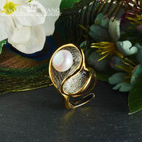 JEWELLWANG Baroque Pearl Jewelry Natural Freshwater Pearl Rings 925 Sterling Silver Rings for Women Unique Gift Anniversary Ring