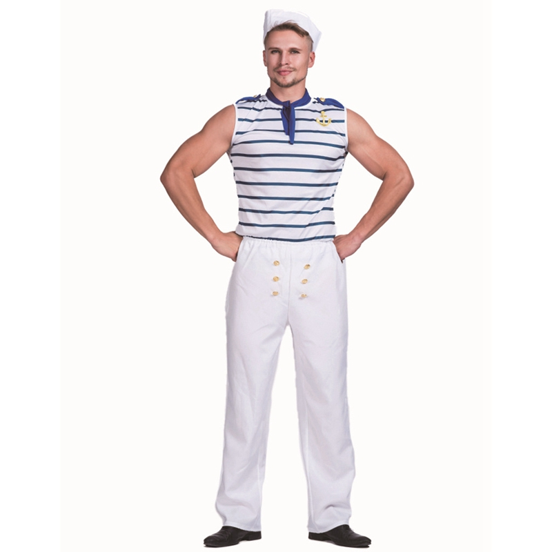Sexy French Sailor Mens Uniform Fancy Dress Costume