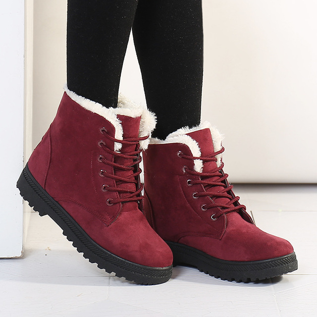 Womens Winter Fur Snow Boots Warm Sneakers Size 10 Red