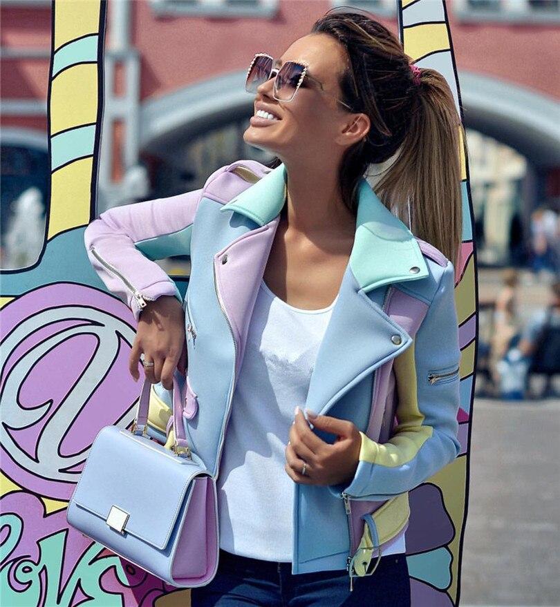 Ladies Spell Color   Basic   Street   Jacket   Color Block Coats long sleeve sashes Outwear coat epaulet zippers