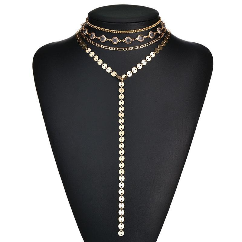 HOSEWYE Sexy Multilayer Sequins Rhinestone Tassel Pendants Chain Necklace Choker Collar Women Jewelry