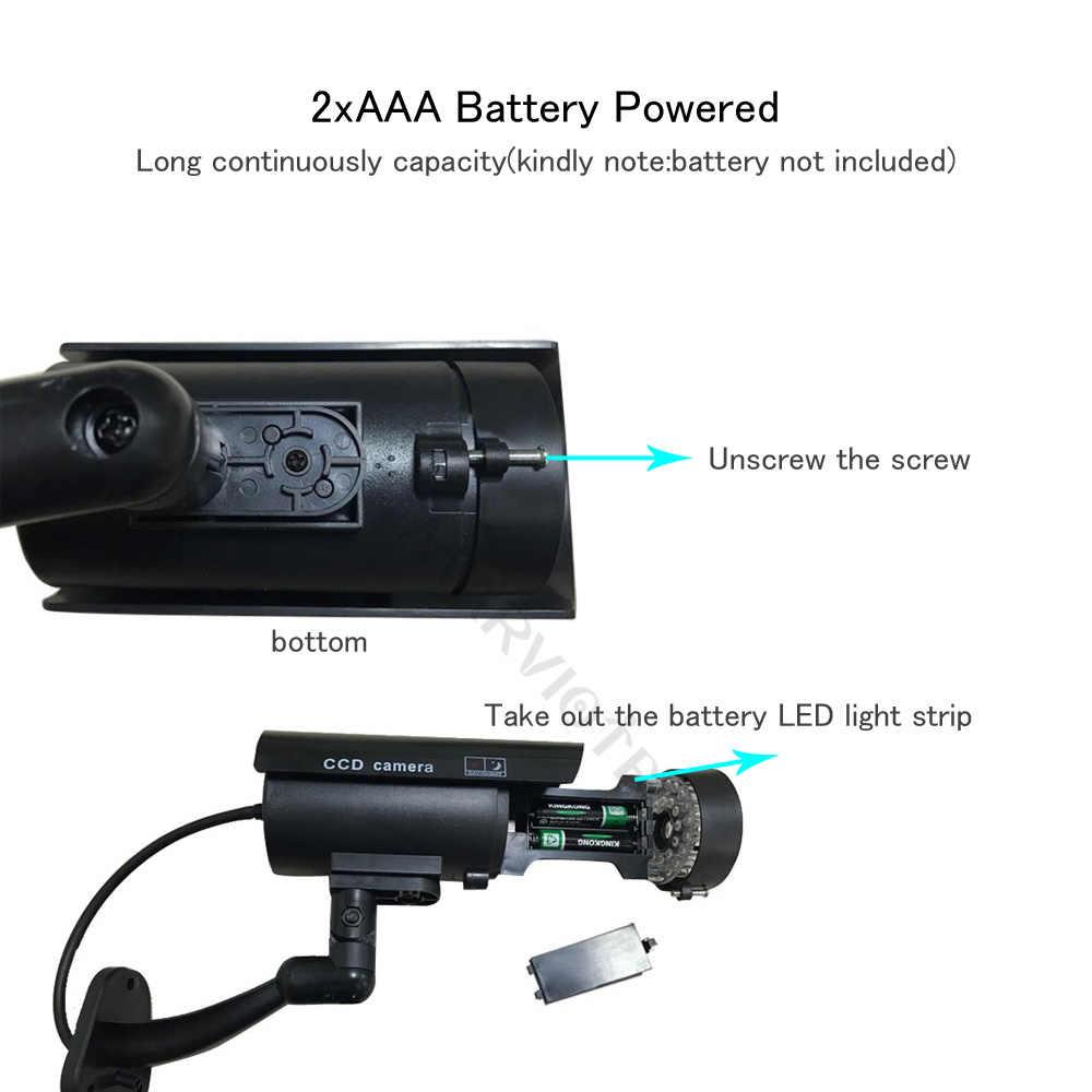 Cámara falsa para exteriores, cámara de videovigilancia para el hogar, cámara simulada cctv videcam, Mini cámara HD con batería LED intermitente