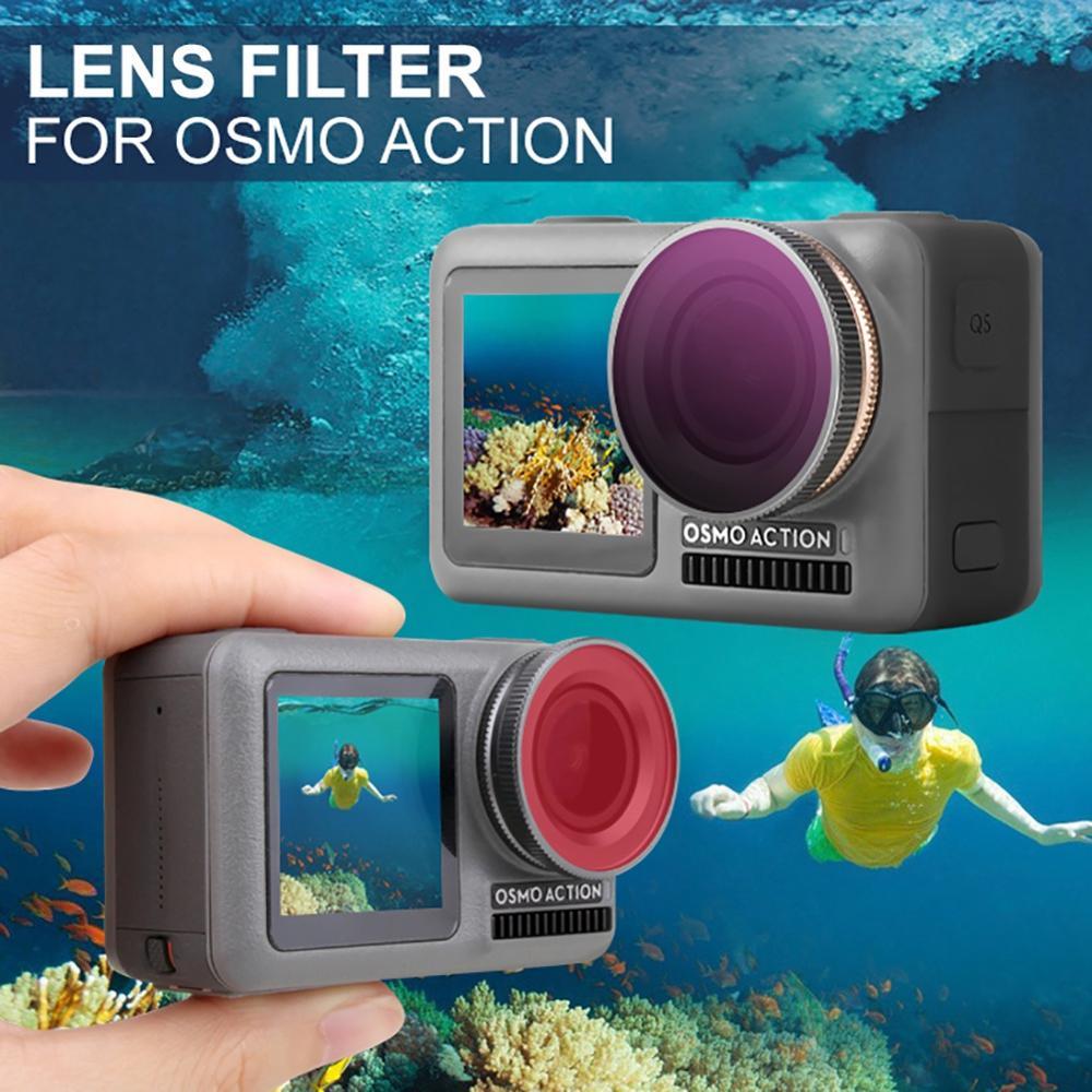 Juego de 4 filtros Filtro ND para acci/ón Osmo Filtro de Lente ND Compatible con dji OSMO Action ND4 ND8 ND16 ND32