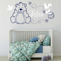 Nursery Wall Decal Cute Heart Bear Personalized Children Name Removable Wall Art Vinyl Crib Room Animal