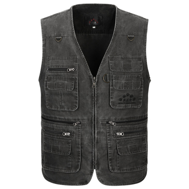 8927fcecc57 Men s Vest Sleeveless Jacket Military Tactical Jacket Fisherman Clothes  Baggy Waistcoat Style Designer Cotton Multi Pocket Vest