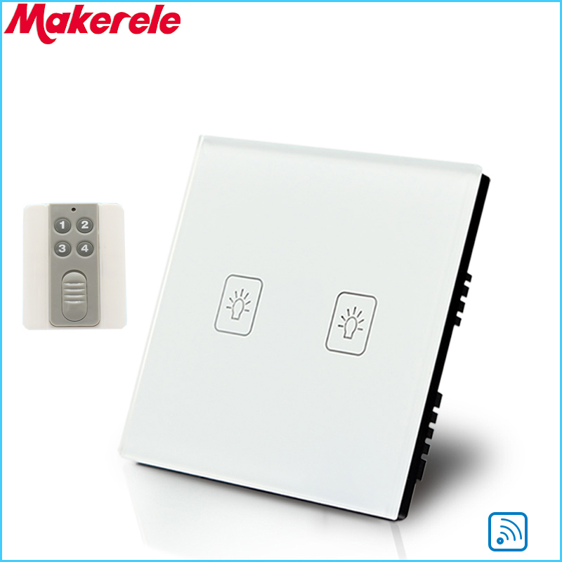 Remote Touch Switch UK Standard 2 Gang 1 way RF Remote Control Light Switch White Crystal Glass Panel with Remote control smart home luxury crystal glass 2 gang 1 way remote control wall light touch switch uk standard with remote controller