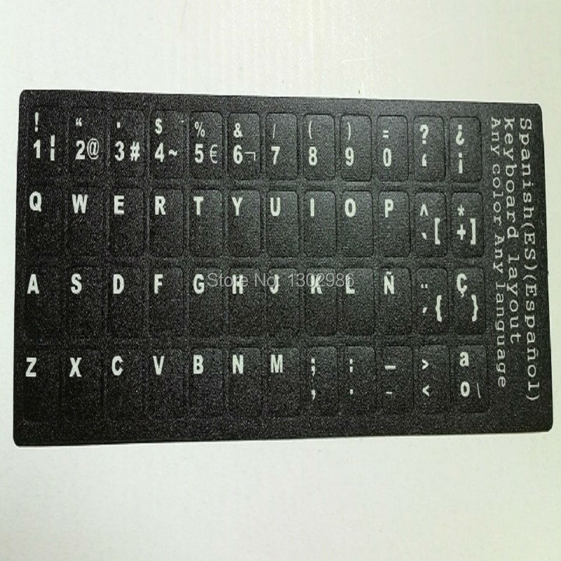 50pcs Spanish Letters Alphabet Learning Keyboard Layout Sticker For Laptop Desktop Computer Keyboard 10 inch Or