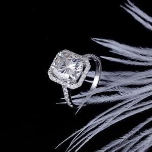 Image 5 - DovEggs 14K الذهب الأبيض هالو مركز 5ct 9*11 مللي متر GH اللون أحجار بمقطع مشابه لشكل الوسائد مويسانيتي خاتم الخطوبة للنساء هدية الزفاف خاتم على شكل هالة