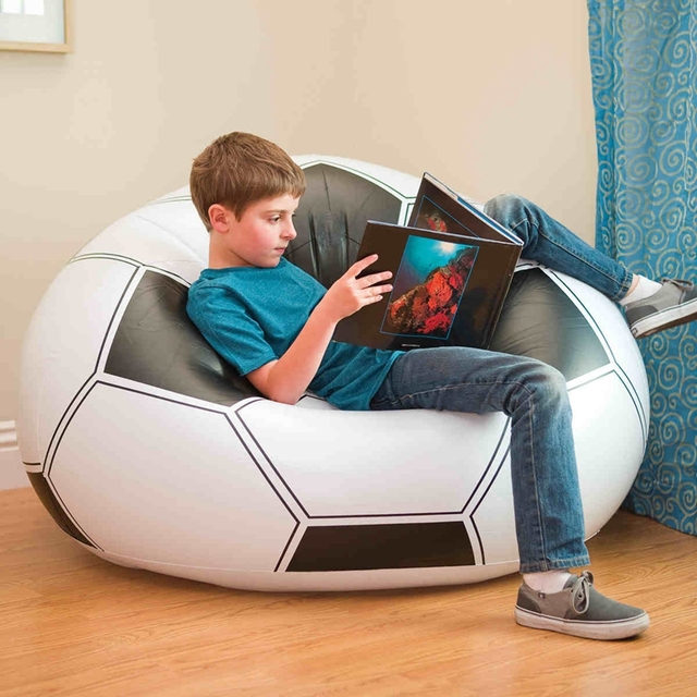 intex sofa chair baxton studio voight gray modern sectional 68557 outdoor inflatable football seat soccer beanbag adult kids