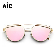 New Cat Eye Sunglasses Women Vintage Fashion Rose Gold Mirror Clear Sun Glasses Unique Flat Sunglasses For Lady UV400