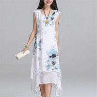2017 New Fashion Summer Style Cotton Linen Plus Size Vintage Print Women Casual Loose Dress Vestidos