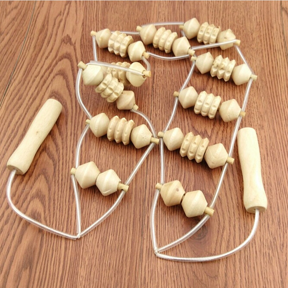 Massage Convenient Wooden Wheel Full Body Neck Back Leg Waist Roller Massage Theraputic Care High Quality