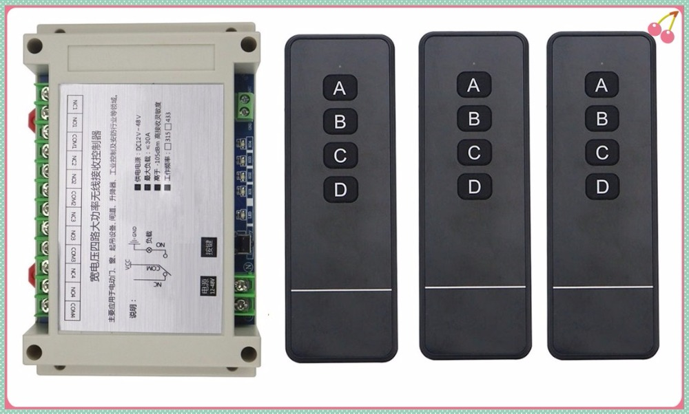 цены DC12V 24V 36V 48V 4CH RF Wireless Remote Control Relay Switch Security System Garage Doors, Electric Doors/window /lamp 3*remote