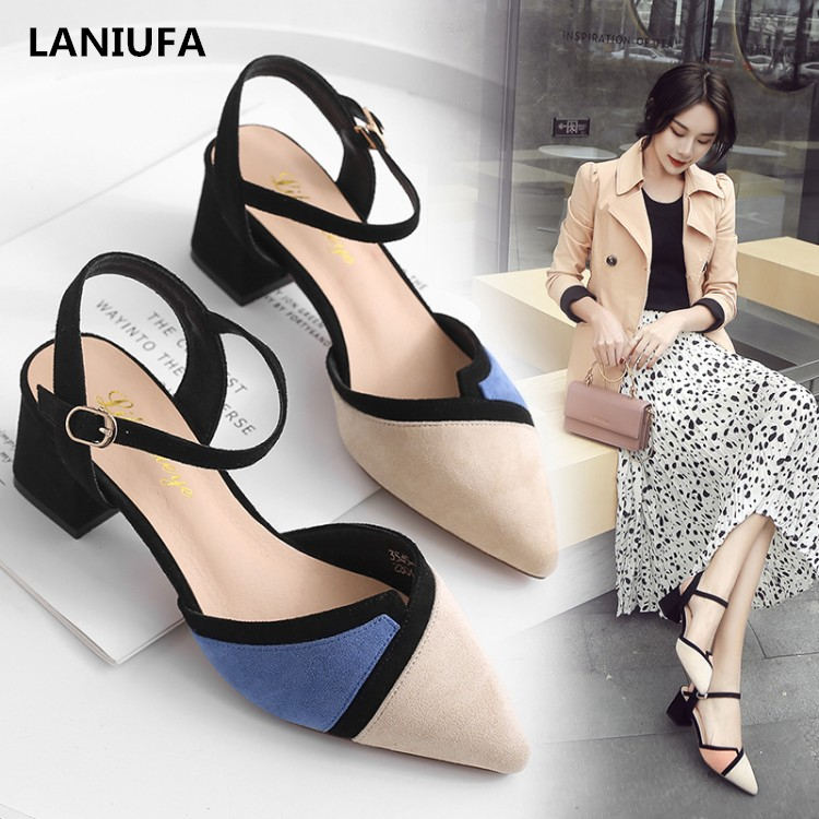 Sexy Women High Heels Shoes women Pointed Toe Ankle Strap Square heel Pumps Party dress sandals women shoes mujer zapatos &24Sexy Women High Heels Shoes women Pointed Toe Ankle Strap Square heel Pumps Party dress sandals women shoes mujer zapatos &24