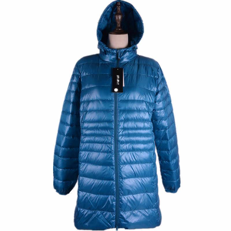 Женские зимние куртки 2019 casaco Inverno утиный пух ультра легкие тонкие женские зимние куртки и пальто капюшон плюс Размер 6XL HJ324