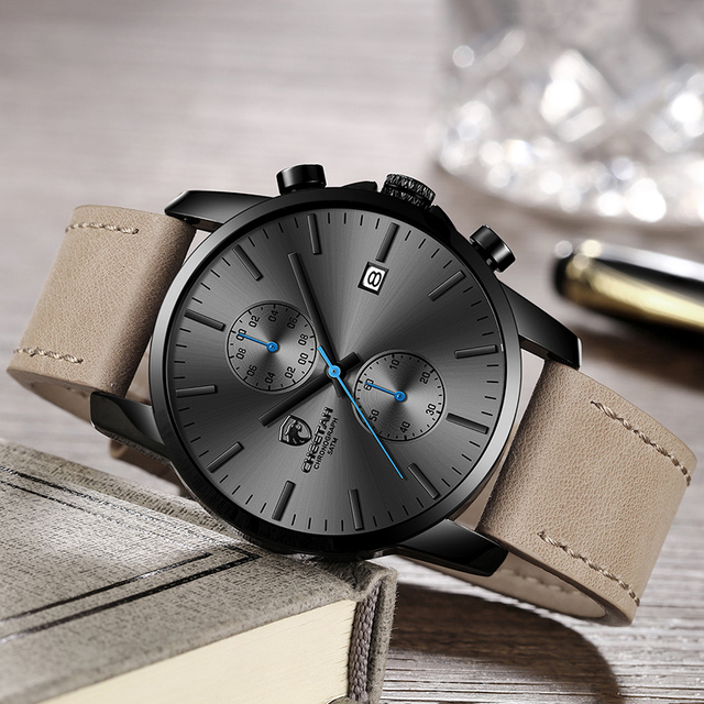 2019 Men Watch CHEETAH Brand Fashion Sports Quartz Watches Mens Leather Waterproof Chronograph Clock Business Relogio Masculino 4