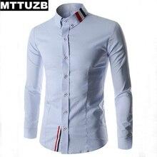 MTTUZB Men shirt 2017 fashion men's casual slim business dress shirts man leisure handsome formal shirt male work shirts M-XXL