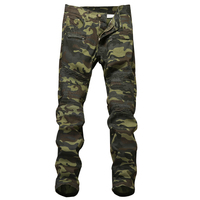Men S Camouflage Biker Jeans Trousers Motocycle Camo Slim Fit COOL Fashion Design Skinny Army Denim