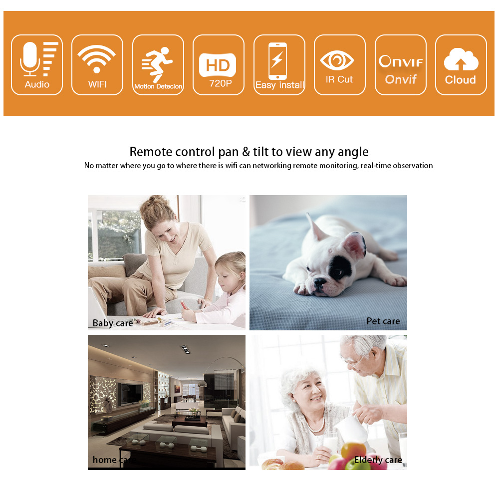 Hdgvision 720P Smart Wifi Ip Camera Wi-fi CCTV Surveillance Wireless IR-Cut Night Vision PTZ Wifi Camera