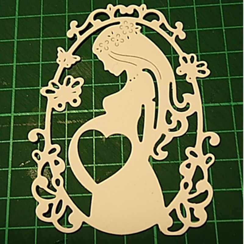 Hemere Pregnant Woman Etched dies Metal Cutting Dies Stencil for DIY Scrapbooking Paper Album Card Craft Embossing Dies Cut