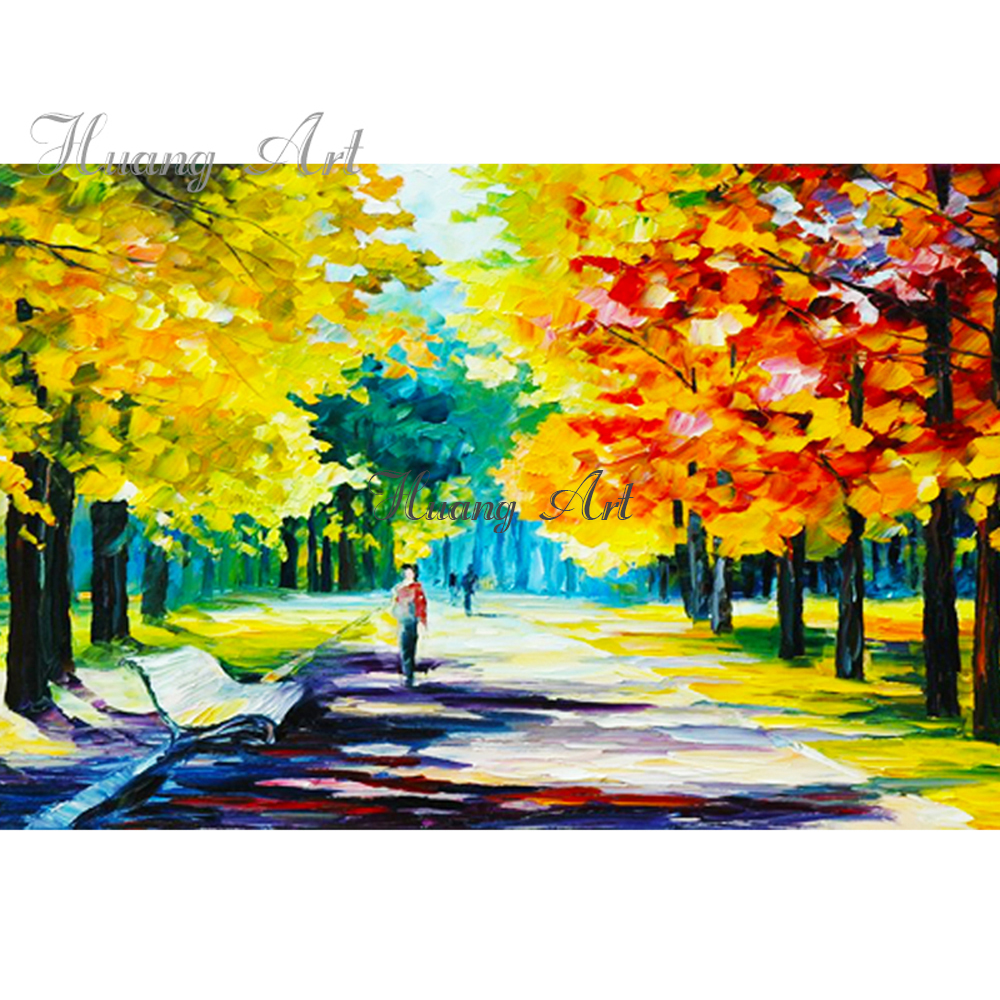 Hand painted oil painting Golden Maple Leaf Impressionism Abstract ...