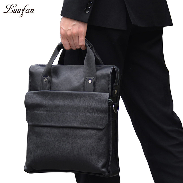 5b5f9823e Men's genuine leather tote bag A4 real leather shoulder bag Black cow  leather business bag work
