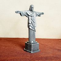 World Famous Statue Figurines Miniature Rio Jesus Christ God Jehovah Crossing Home Decoration Furniture 17x7x21cm Silver