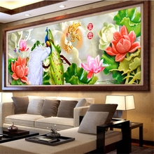 Big Size Living Room Home Hotel Wall Art Decoration 5D Diamond Painting Cross Stitch Mosaic Kit Embroidery Lotus Peacock Animal