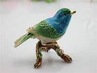 Bird Jeweled Box Gold Trinket Box Decorative Vintage Box Bird Home Decoration Pewter Ornament Giftware Metal