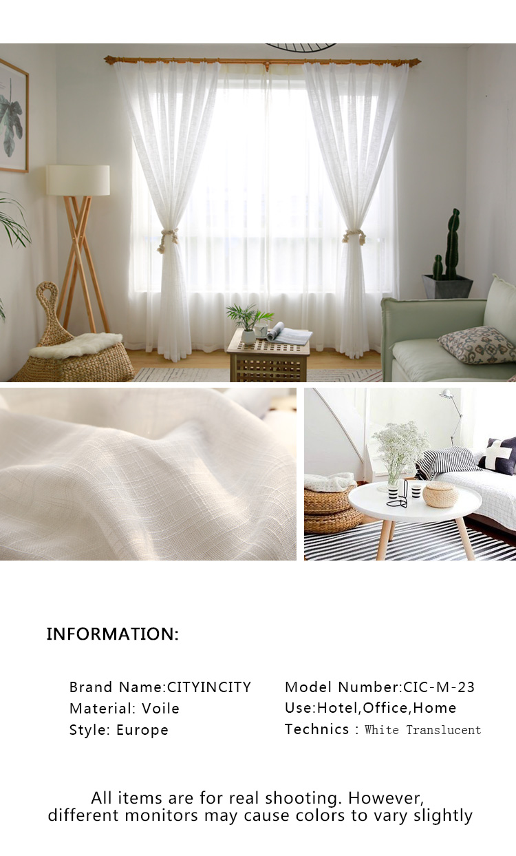 CITYINCITY Tulle  American Curtains for Living room Soft White Voile  solid Rural Tulle Curtain for bedroom ready made curtain02