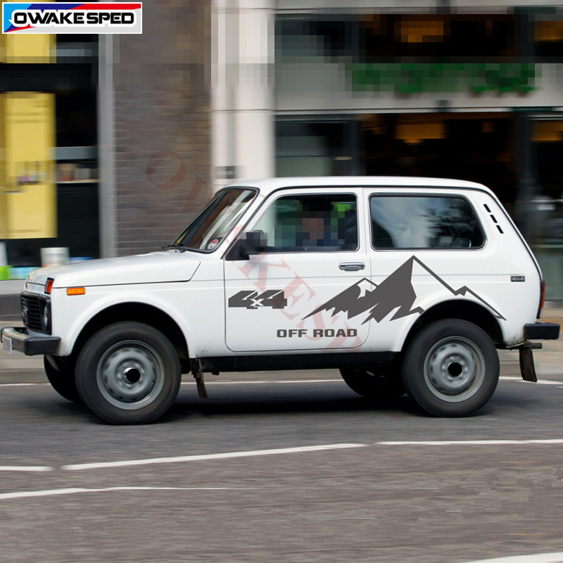 For LADA NIVA 4X4 OFF ROAD Mountain Graphics Decal Car Body Door Decor Stickers Sport Styling Auto Both Side Customized Sticker