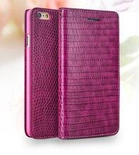 Ярко-Розовый леди ручной работы Из кожи Крокодила flip Case для iphone 6/6 s plus 4.7 дюймов/5.5″