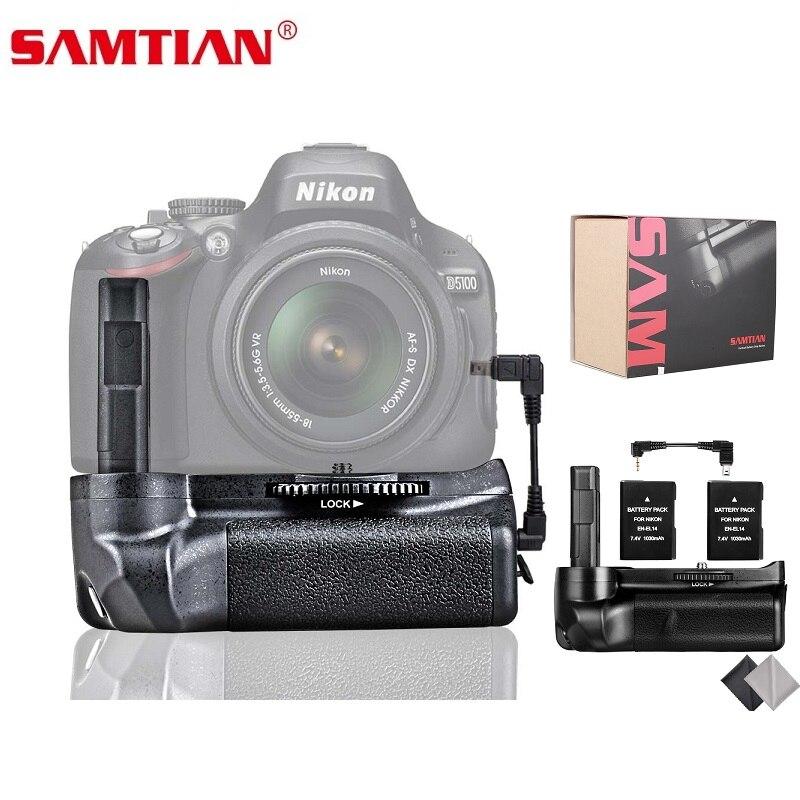 SAMTIAN Vertical Appareil Photo Batterie Grip Pour Nikon D5100 D5200 D5300 DSLR Venir Batterie Poignée Avec 2 pcs EN-EL14 Batterie