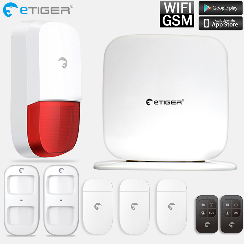 Etiger IOS Android APP Remote Control WiFi GSM Wireless 433mhz Alarm System Outdoor Strobe Siren etiger s3b etiger gsm sms alarm system solar power siren indoor siren ip camera super kit as same as chuango g5