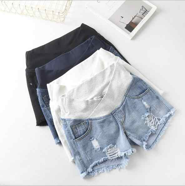 Fdfklak niskiej talii krótkim kobieta w ciąży szorty spodnie lato czarny/biały spodenki ciążowe Jeans M-XXL F325