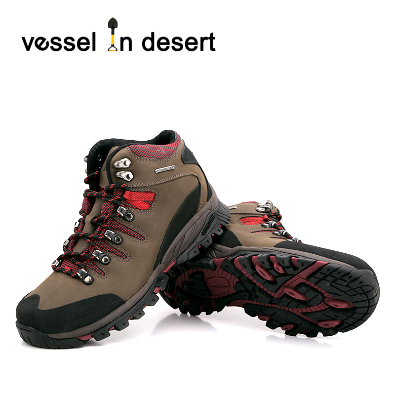 Vessel in Desert Mens Rubber toecap Waterproof Outdoor Hiking Shoes Lovers Walking Shoes Athletic Shoes Warm boots EUR 37-46 yin qi shi man winter outdoor shoes hiking camping trip high top hiking boots cow leather durable female plush warm outdoor boot
