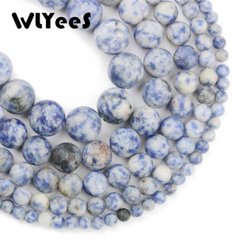 WLYeeS Natural Matte Sodalite Bule White Spot Stone 4/6/8/10/12MM Round Loose bead ball Jewelry bracelet Necklace making DIY 15 image