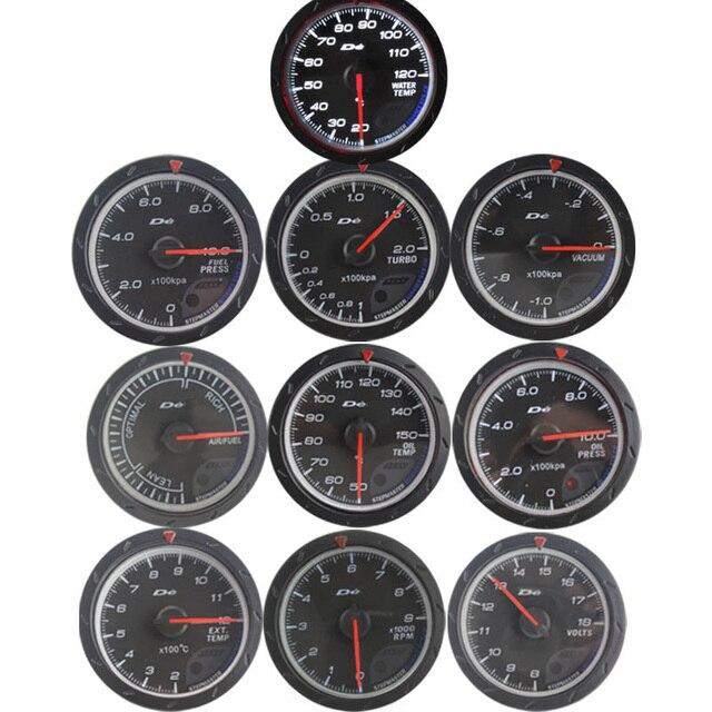 60MM volt meter water temp oil temp gauge turbo Boost  gauge oil press meter Exhaust gas temp gauge EGT/EXT Vacuum gauge