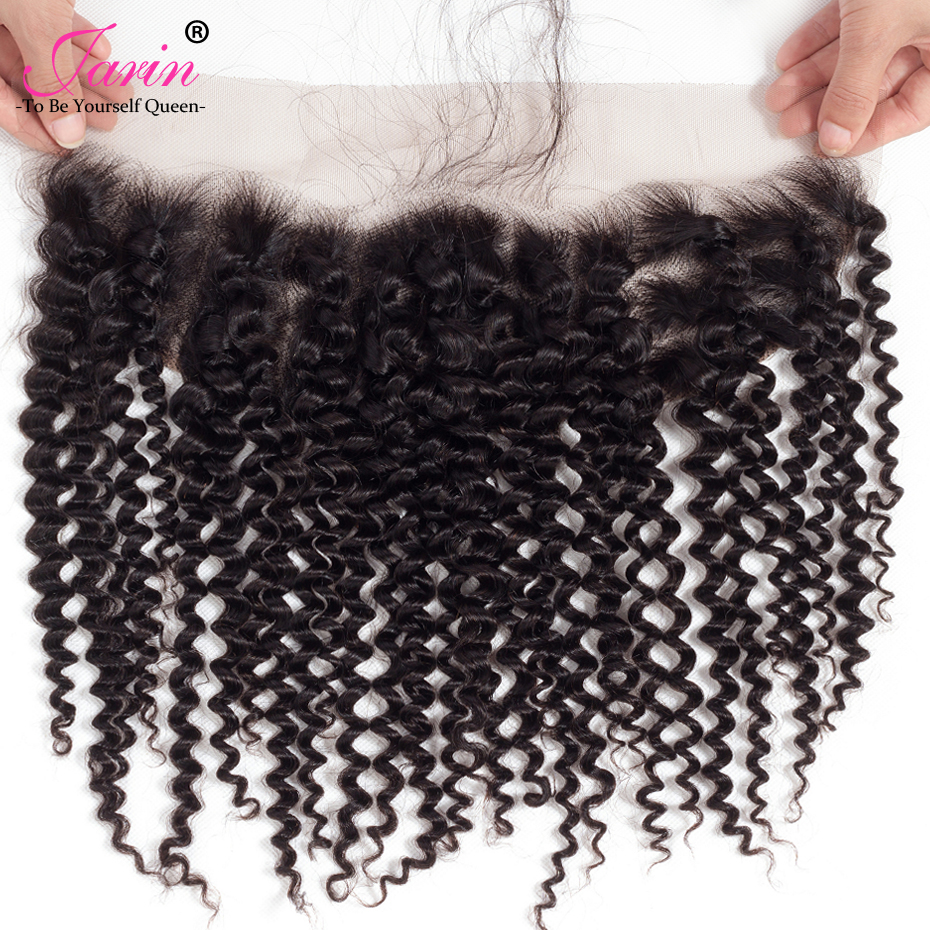 Jarin Indian Lace Frontal Closure Human Hair Kinky Curly 13x4 With Baby Hair Free Middle Part Hair Extensions 70-80g nonRemy