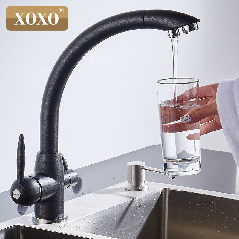 XOXO Water filter faucet brass kitchen mixer tap deck installed rotating 360 degrees water purification kitchen