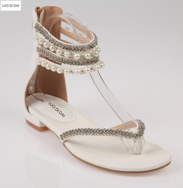 2019 women beach shoes flat heels glitter party shoes summer diamond sandals  beading sandals white pearl sandals