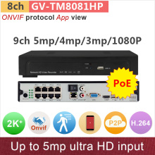 PoE#2K+ super HD# 8 channel NVR 8ch DVR Support poe camera/splitor 5mp(4mp)/3mp/1080P ONVIF HD cctv system GANVIS GV-TM8081HP