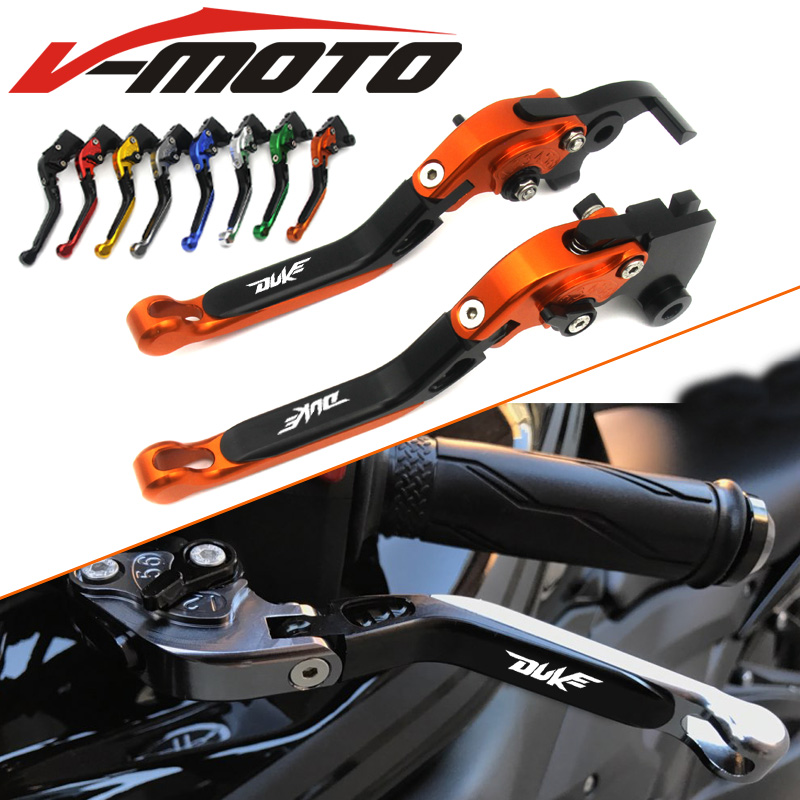For KTM 1290 Super Duke R GT RC8 RC8 R 690 Duke Motorcycle CNC Aluminum Foldable Extendable Brake Clutch Levers With LOGO mtkracing cnc aluminum brake clutch levers set short adjustable lever for ktm adventure 1050 690 duke smc smcr 690 enduro r
