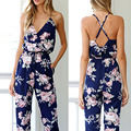 Combinaison Femme Jumpsuits For Women 2017 Sexy Bohemian Floral Printed Long Pants Jumpsuit Lady Tank Overalls One Piece Romper